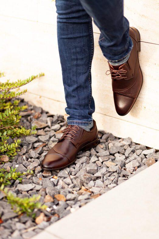 Csokibarna Alkalmi Bőr Cipő