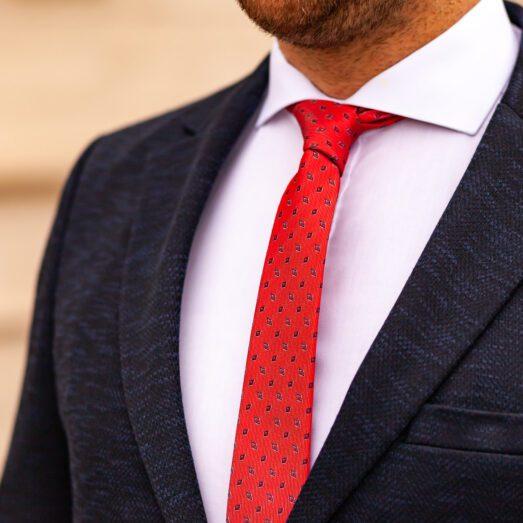Piros Apró Mintás Nyakkendő