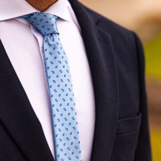 Világoskék Mintás Nyakkendő