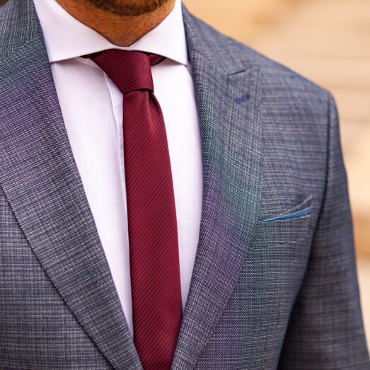 Bordó Csíkban Mintás Nyakkendő