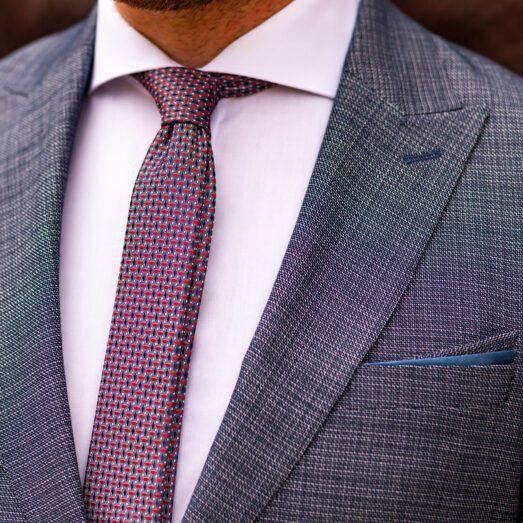 Kék-Piros-Fehér Mintás Nyakkendő